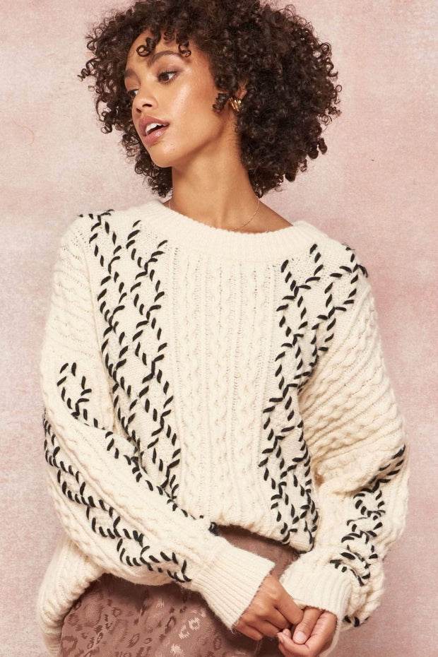 Highland Mists Contrast Cable Knit Sweater
