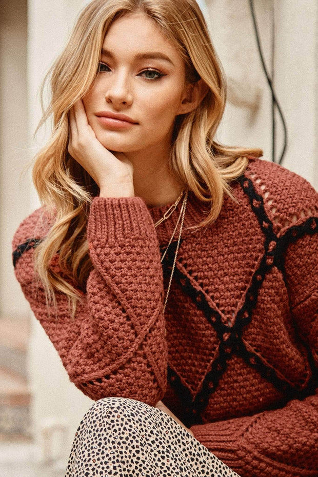 Crossroads Contrast Stitch Cable Knit Sweater - ShopPromesa