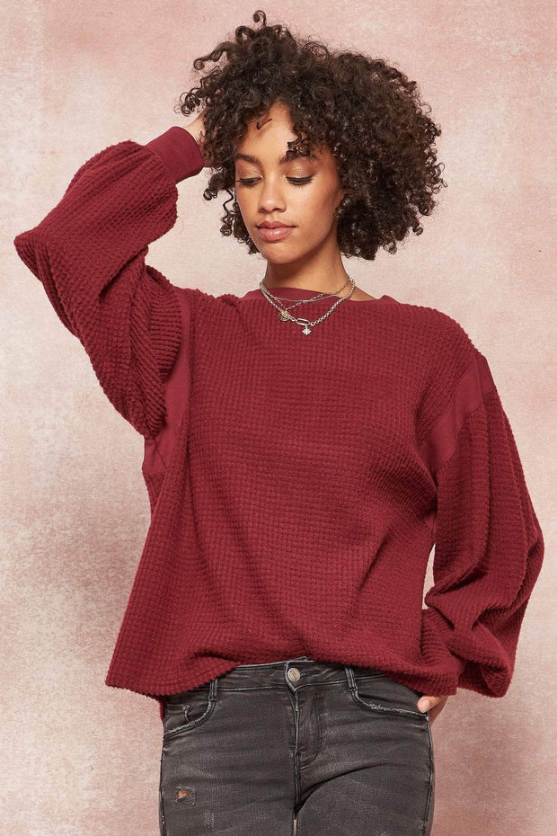 Tender Hearted Brushed Waffle Knit Top