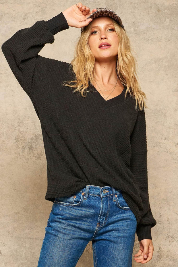 Stay Toasty Brushed Waffle Knit V-Neck Top