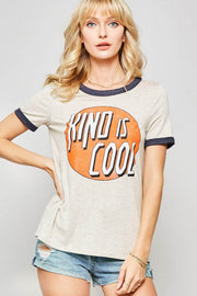 Kind is Cool Vintage-Print Graphic Ringer Tee - ShopPromesa