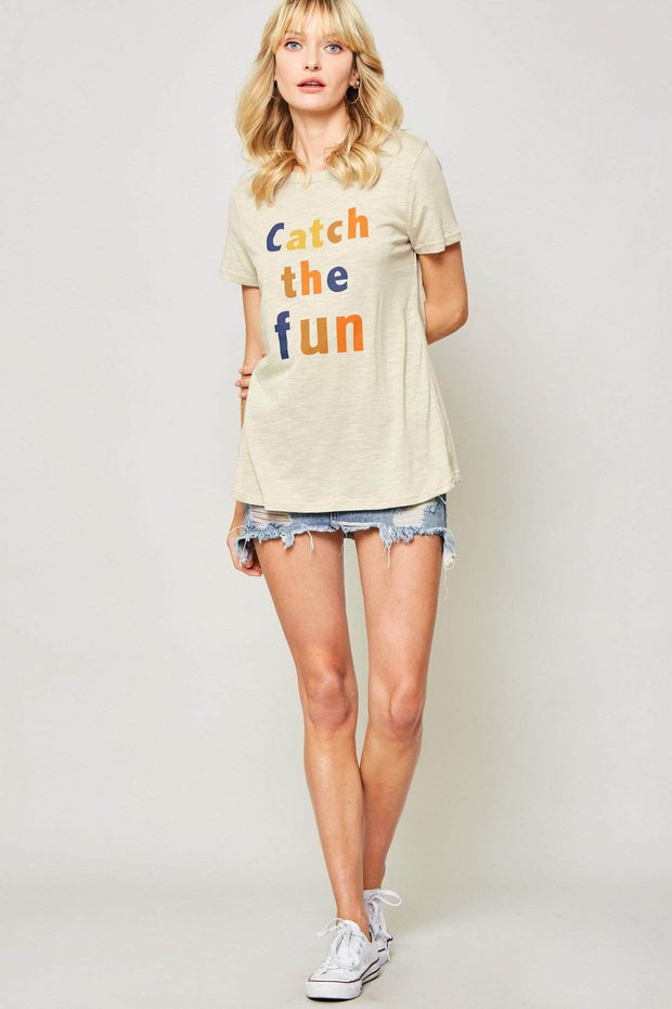 Catch the Fun Multicolor Text Graphic Tee - ShopPromesa