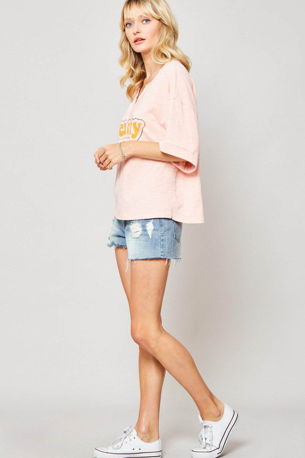 Peachy Keen Oversized Split-Neck Graphic Tee - ShopPromesa