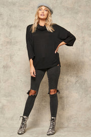 Brush with Fame Cowl Neck Brushed Knit Top