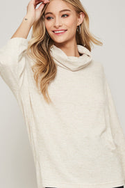 Brush with Fame Cowl Neck Brushed Knit Top - ShopPromesa