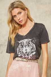 Tiger Muse Stone-Washed Vintage Graphic Tee - ShopPromesa