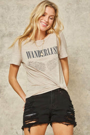 Wanderlust Angel Vintage Slub-Knit Graphic Tee - ShopPromesa