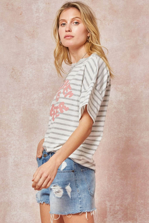 Together is Better Striped Vintage Graphic Tee - ShopPromesa