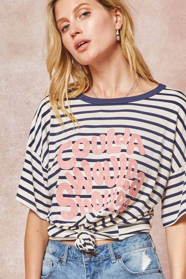 Coulda Woulda Shoulda Striped Vintage Graphic Tee - ShopPromesa