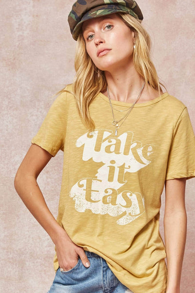 Take it Easy Vintage Slub-Knit Graphic Tee - ShopPromesa