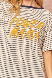 Power Mama Vintage Striped Graphic Tee - ShopPromesa