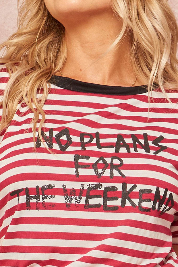 Weekend Plans Vintage Striped Graphic Ringer Tee - ShopPromesa