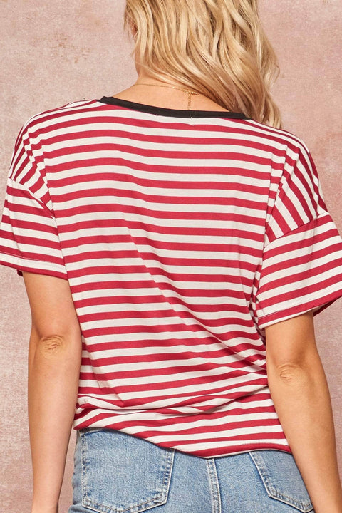 Young American Vintage Striped Graphic Ringer Tee - ShopPromesa