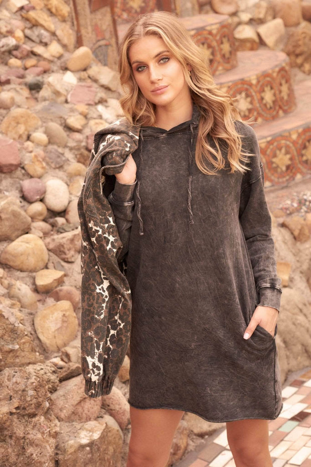 Girl Meets World Stone-Washed Hoodie Mini Dress - ShopPromesa