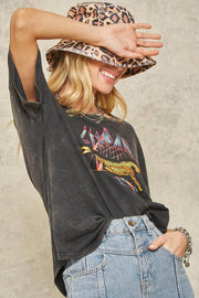 Leopard Stone-Washed Vintage Graphic Tee - ShopPromesa