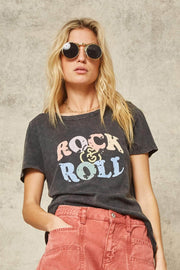 Rock & Roll Stone-Washed Vintage Graphic Tee - ShopPromesa