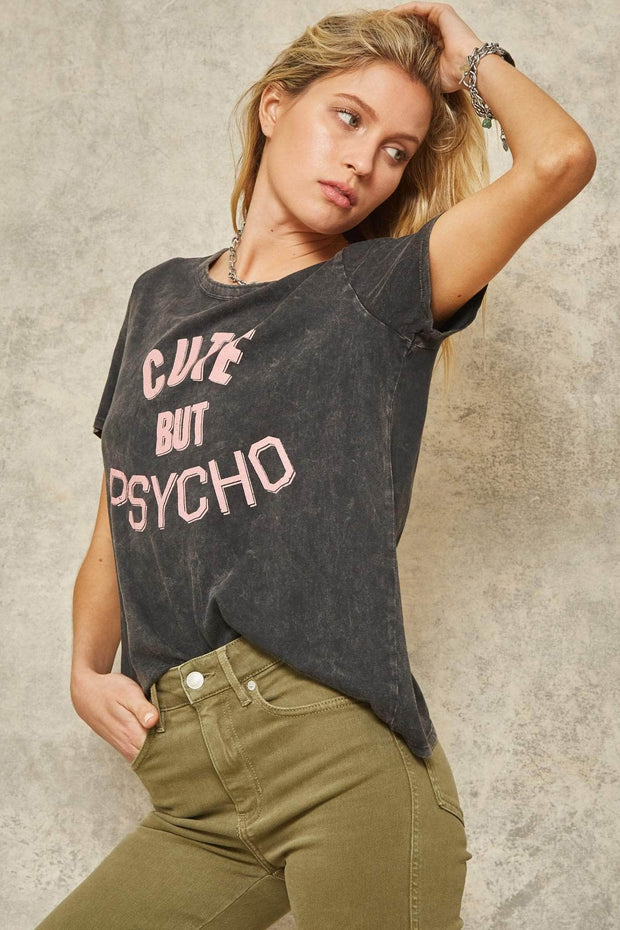 Cute But Psycho Stone-Washed Graphic Tee - ShopPromesa