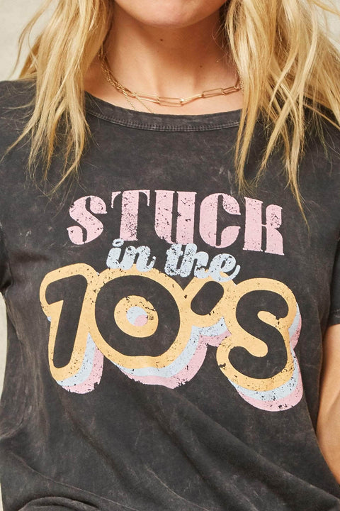 Stuck in the 70s Stone-Washed Vintage Graphic Tee - ShopPromesa