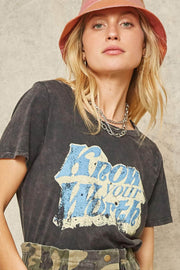 Know Your Worth Stone-Washed Vintage Graphic Tee - ShopPromesa