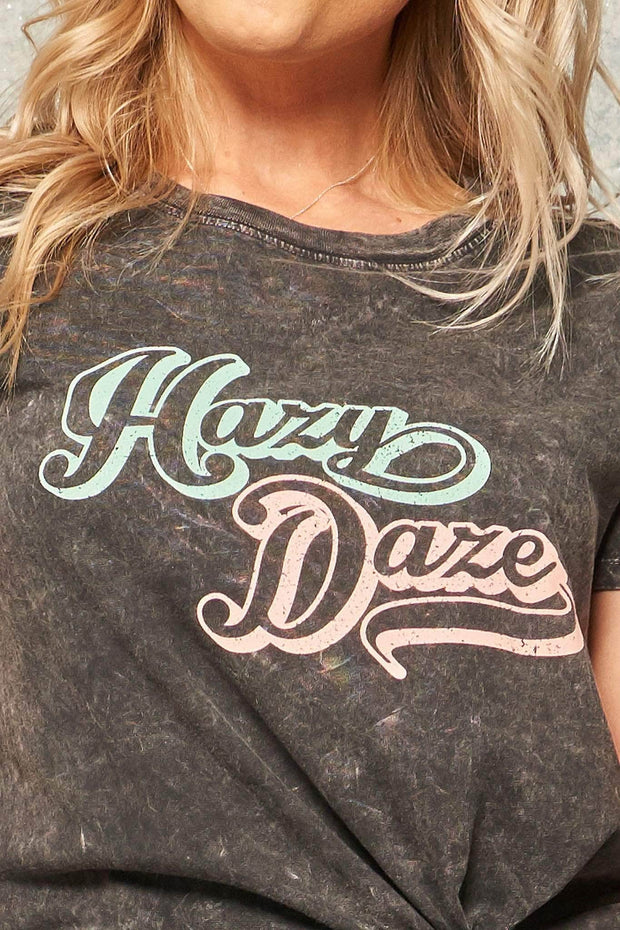Hazy Daze Stone-Washed Vintage Graphic Tee - ShopPromesa
