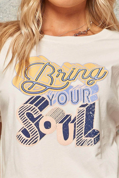 Bring Your Soul Vintage-Print Graphic Tee - ShopPromesa