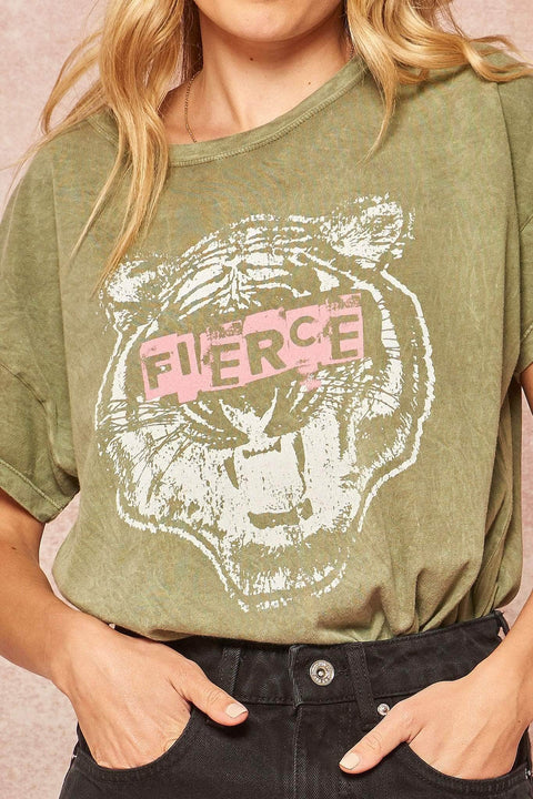 Fierce Tiger Stone-Washed Vintage Graphic Tee - ShopPromesa