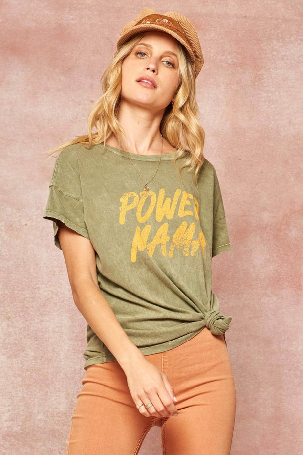 Power Mama Stone-Washed Vintage Graphic Tee - ShopPromesa