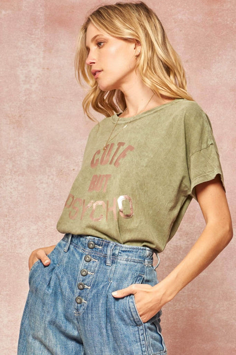 Cute But Psycho Stone-Washed Foil Graphic Tee - ShopPromesa