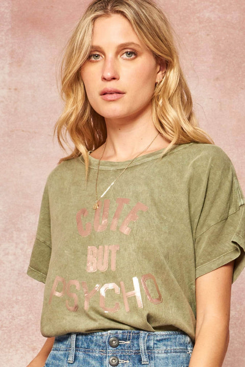 Cute But Psycho Stone-Washed Foil Graphic Tee