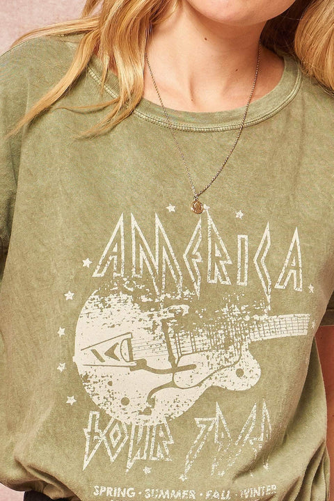 Rock America Tour Vintage Stone-Washed Graphic Tee - ShopPromesa