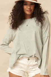 Big Happy Vintage-Washed Oversize Long-Sleeve Tee - ShopPromesa