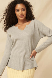 Feeling Good Split-Neck Waffle Knit Thermal Top - ShopPromesa