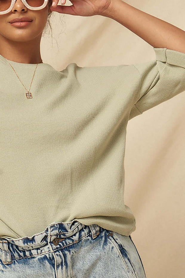 Still Smiling Half-Sleeve Waffle Knit Thermal Top - ShopPromesa