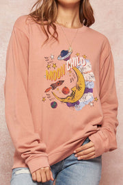Moon Child Garment-Dyed Graphic Sweatshirt - ShopPromesa