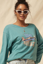 Bon Voyage Garment-Dyed Graphic Sweatshirt