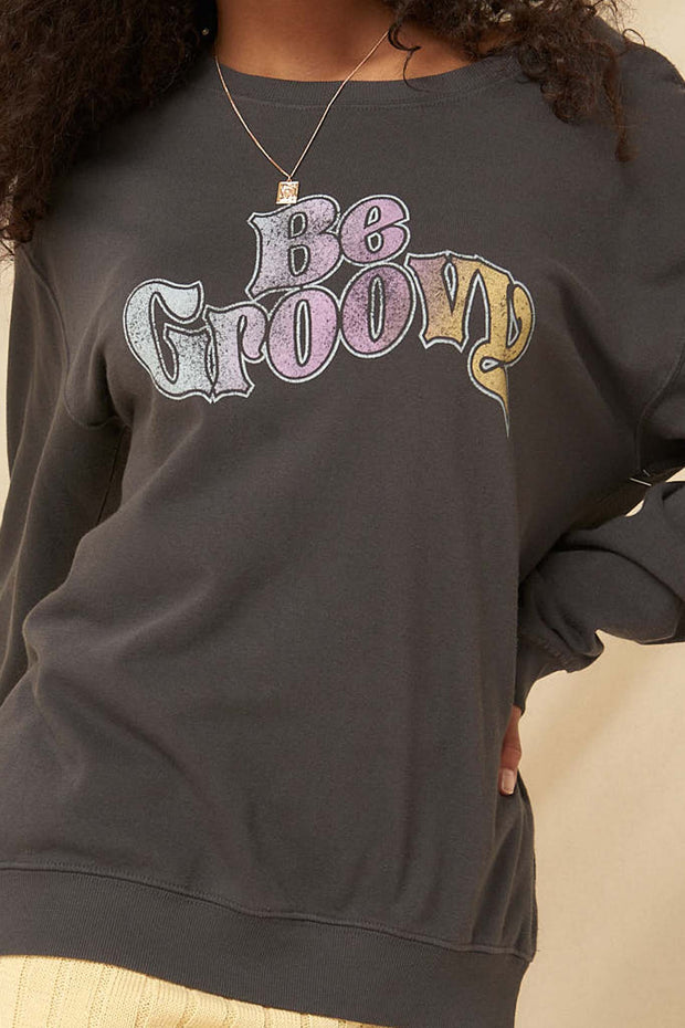 Be Groovy Garment-Dyed Graphic Sweatshirt