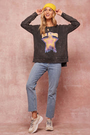 Be Kind Vintage-Washed Graphic Sweatshirt - ShopPromesa