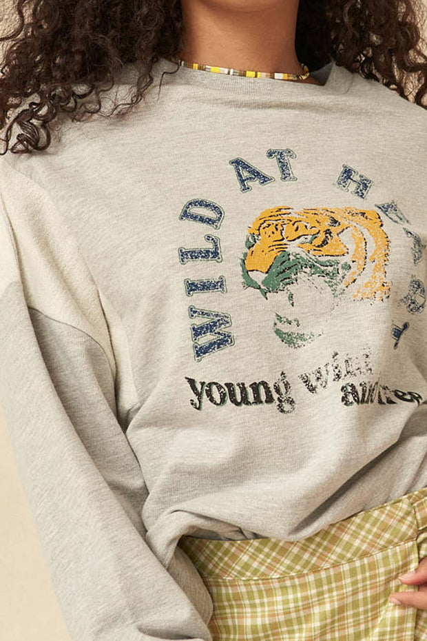 Wild at Heart Vintage Tiger Graphic Sweatshirt - ShopPromesa