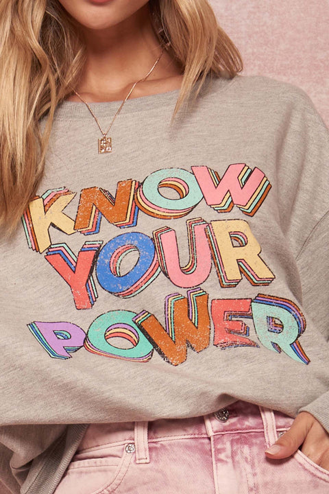Know Your Power Vintage Graphic Sweatshirt - ShopPromesa