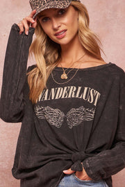 Wanderlust Angel Vintage Long-Sleeve Graphic Tee - ShopPromesa