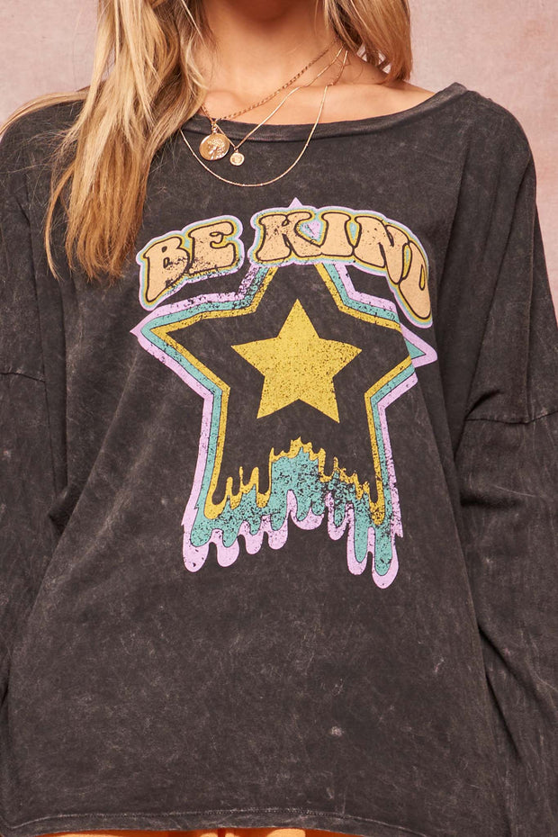 Be Kind Vintage-Washed Long-Sleeve Graphic Tee - ShopPromesa