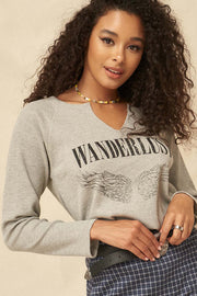 Wanderlust Vintage Split-Neck Thermal Graphic Top - ShopPromesa