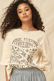 Music Fest Vintage Half-Sleeve Thermal Graphic Top - ShopPromesa