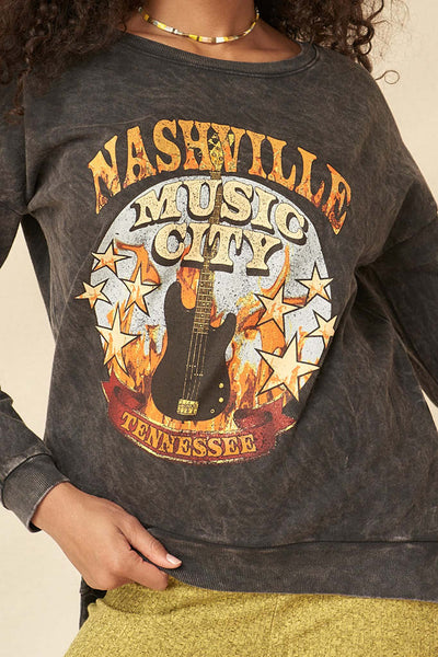 Nashville Music Vintage-Washed Graphic Sweatshirt - ShopPromesa