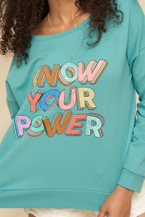 Know Your Power Garment-Dyed Graphic Sweatshirt - ShopPromesa