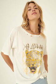 Def Leppard Leopard Distressed Graphic Tee - ShopPromesa