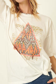 Deff Leppard Distressed Leopard-Print Graphic Tee - ShopPromesa