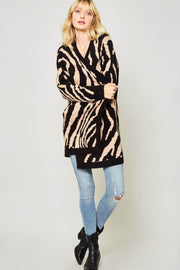 Tiger Lily Tiger Stripe Open-Front Knit Cardigan - ShopPromesa