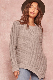 Take the Train Asymmetrical Cable Knit Sweater