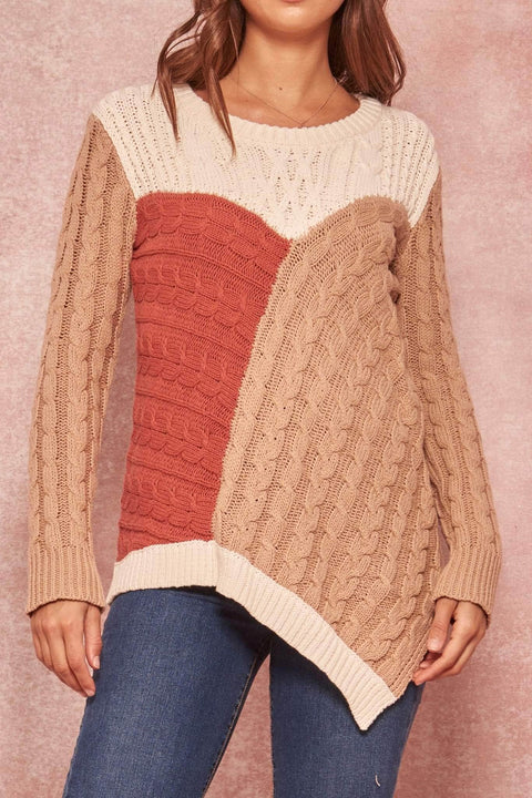 Mixed Signals Patchwork Cable Knit Sweater